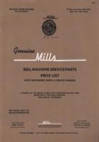 MILLS BELL MACHINE SERVICE PARTS PRICE LIST