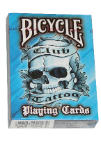 Club Tattoo - Blue playing cards, plastic poker playing cards, low vision cards, large print cards, jumbo index cards, paper cards, professional poker cards, used casino cards, Tally Ho cards, Tally Ho Viper cards, used Strip casino cards, Kem cards, Kem poker cards, Kem bridge cards, Kem jumbo cards, Kem standard index cards, Kem narrow jumbo cards, Kem Jacquard playing cards, bicycle cards, Theory 11 cards, Ellusionist playing cards, fantasy playing cards, nature playing cards, Copag plastic cards, poker cards, bridge cards, casino cards, playing cards, collector cards, tarot cards, magic cards, sports cards, Bee playing cards, Congress cards, Aviator playing cards, collectible card tins, Marilyn Monroe playing cards, Elvis playing cards, magician c