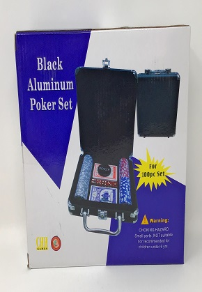 Black Aluminum Poker Set
