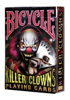 Killer Clowns Plastic playing cards, plastic poker playing cards, low vision cards, large print cards, jumbo index cards, paper cards, professional poker cards, used casino cards, Tally Ho cards, Tally Ho Viper cards, used Strip casino cards, Kem cards, Kem poker cards, Kem bridge cards, Kem jumbo cards, Kem standard index cards, Kem narrow jumbo cards, Kem Jacquard playing cards, bicycle cards, Theory 11 cards, Ellusionist playing cards, fantasy playing cards, nature playing cards, Copag plastic cards, poker cards, bridge cards, casino cards, playing cards, collector cards, tarot cards, magic cards, sports cards, Bee playing cards, Congress cards, Aviator playing cards, collectible card tins, Marilyn Monroe playing cards, Elvis playing cards, magician c