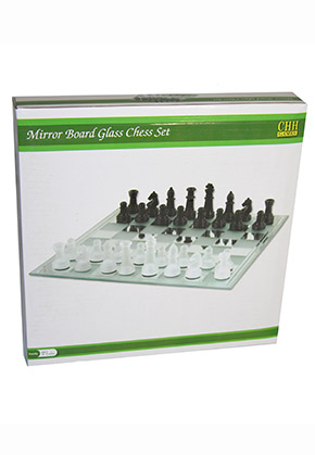 CHESS SET MIRROR BOARD 13.75""