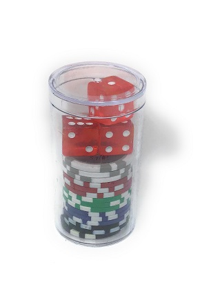 Assorted chips in tube with dice