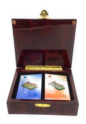 2 Deck Wooden Card Box  - 704551401476
