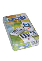 DOUBLE 9 DOMINO COLOR DOTS/TIN
