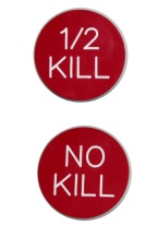 1.25 INCH 1/2 KILL/ NO KILL RED/WHITE