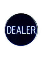 "DEALER BUTTON 2"" BLACK LUCITE"