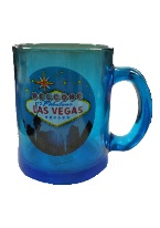 MUGS, BLUE GLASS LV  $3.95