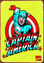 CAPTAIN AMERICA RETRO Dogs Playing Poker, Batman, Bettie Page, Marilyn Monroe, Elvis, Indian Motorcycles, Three Stooges, Marvel, Superman, Spiderman, Iron Man, Captain America, Phillips 66, Farmall, Don?t Tread on Me, Ducks Unlimited, Louisville Slugger, Dukes of Hazard, Flintstone?s. Cowboy by Choice, Cowgirl by Choice, I Love Lucy, Moon Pie, Winchester Rifles, Colt 45, Budweiser, Vince Lombardi, Fender Stratocaster, Ford, Chevy, Mustang, Remington, Jack Daniels, Smith & Wesson, Wizard of Oz, Schonberg, Coke, Coca Cola, Budweiser, Jim Beam, Route 66, Corvette, Ford, I Love Lucy